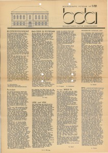 BdA Potsdam_Mitteilung Nr 1-1981